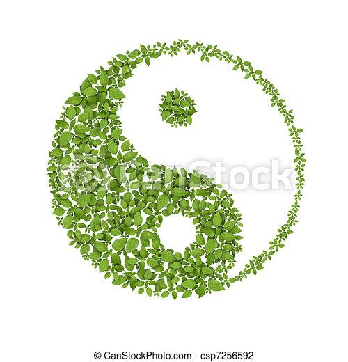 Floral yin yang symbol, natural harmonies icon - csp7256592