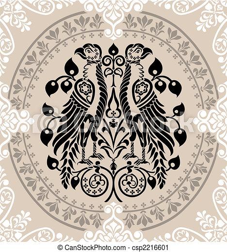 floreale, aquile, araldico, decorato, ornamenti - csp2216601
