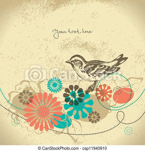 floreale, astratto, uccello, fondo - csp11940910