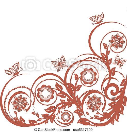 floreale, butterflies., vettore, fondo, illustrazione - csp6317109