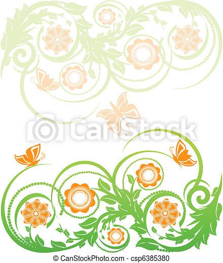 floreale, butterflies., vettore, fondo, illustrazione - csp6385380