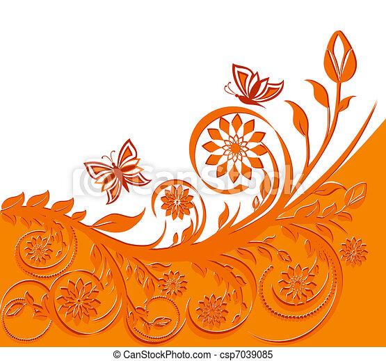 floreale, butterflies., vettore, fondo, illustrazione - csp7039085