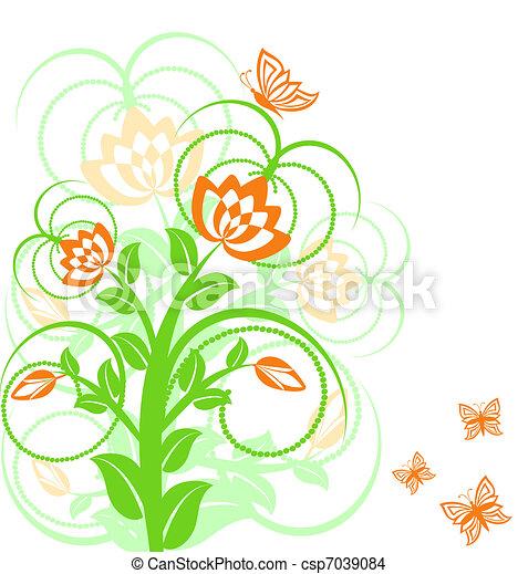 floreale, butterflies., vettore, fondo, illustrazione - csp7039084