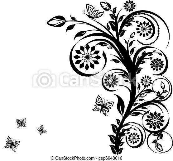 floreale, butterflies., vettore, ornamento, illustrazione - csp6643016