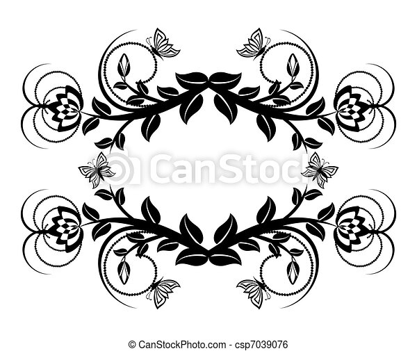floreale, butterflies., vettore, ornamento, illustrazione - csp7039076