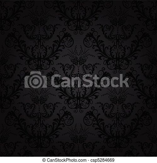 floreale, carbonella, carta da parati, lusso - csp5284669