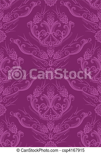 floreale, carta da parati, fucsia, lusso - csp4167915