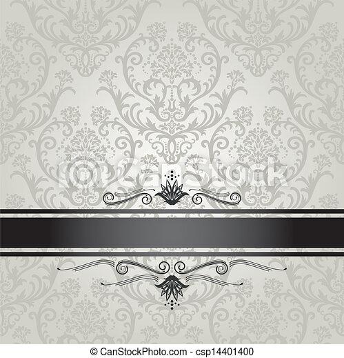 floreale, carta da parati, lusso, argento - csp14401400