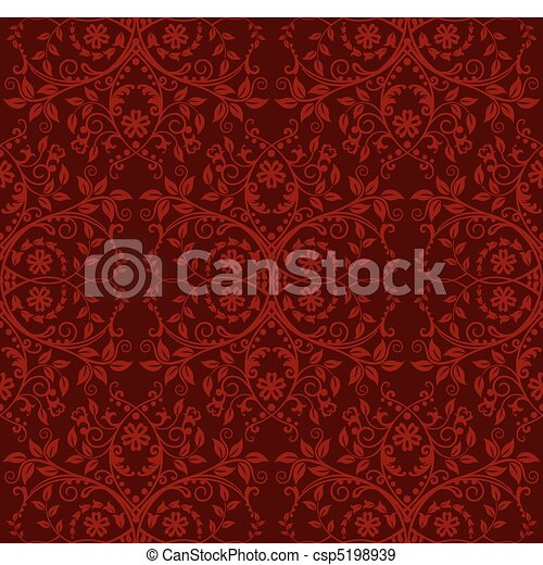 floreale, carta da parati, seamless, rosso - csp5198939