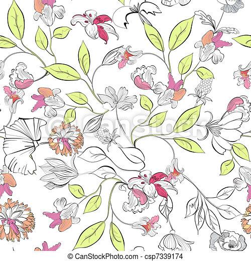 floreale, carta da parati, seamless - csp7339174