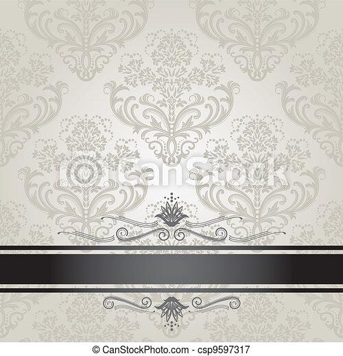 floreale, copertina, lusso, argento - csp9597317