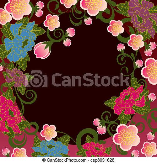 floreale, cornice, asiatico - csp8031628