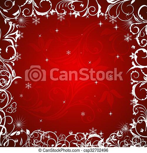 floreale, cornice, inverno - csp32702496