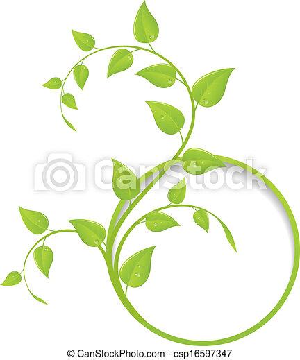 floreale, cornice, verde - csp16597347