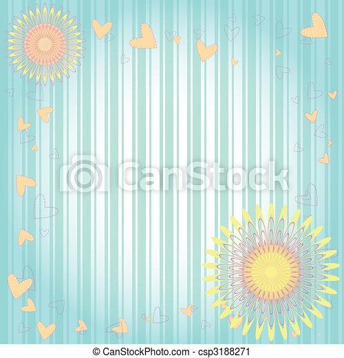 floreale, cuori, cartolina auguri - csp3188271