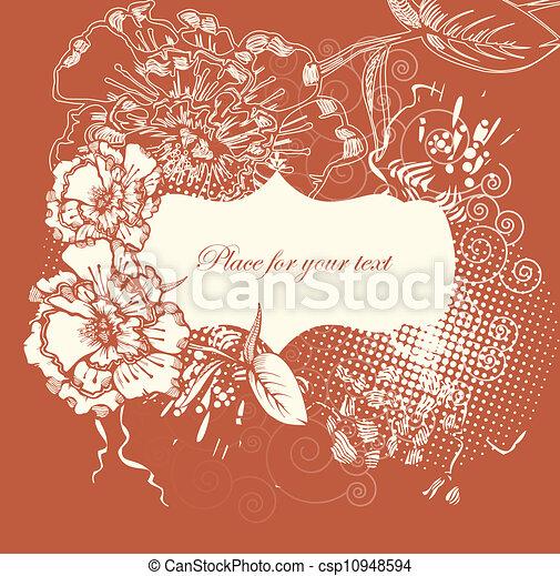 floreale, disegnato, cornice, fiore, mano - csp10948594