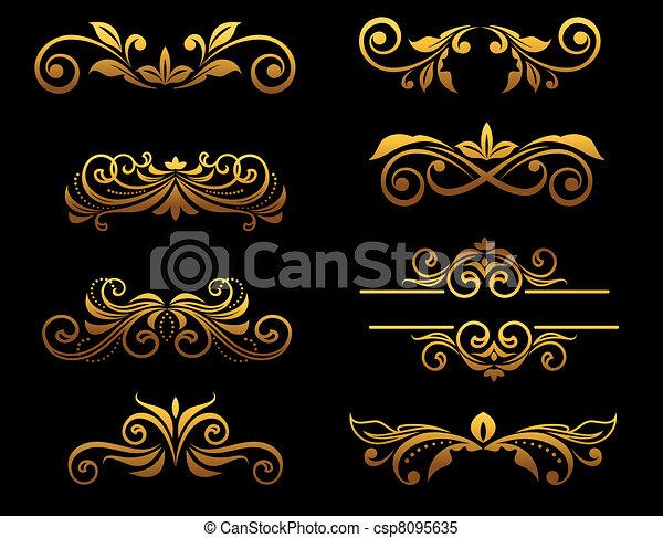 floreale, dorato, profili di fodera, elementi, vendemmia - csp8095635