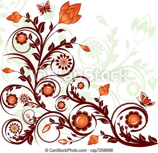 floreale, farfalle, vettore, ornamento, illustrazione - csp7256698