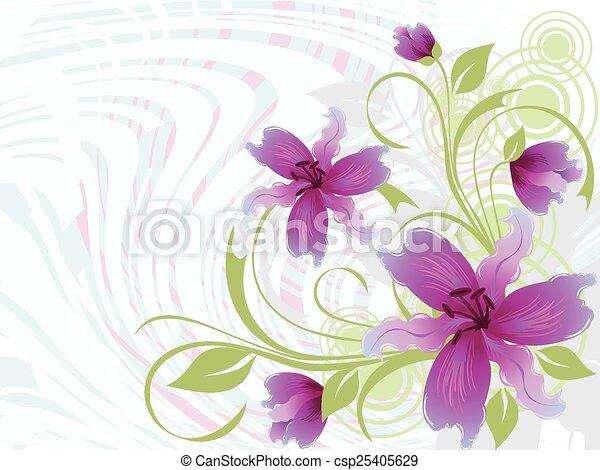 floreale, illustrazione, fondo - csp25405629