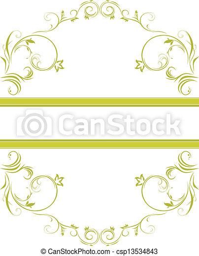 floreale, ornamentale, cornice, verde - csp13534843
