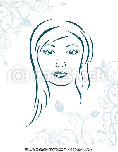 floreale, ragazza, fondo, faccia - csp5345737