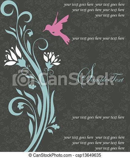 floreale, uccello, scheda, invito - csp13649635