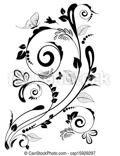 floreale, vendemmia, bordo, disegno, tuo - csp15929297