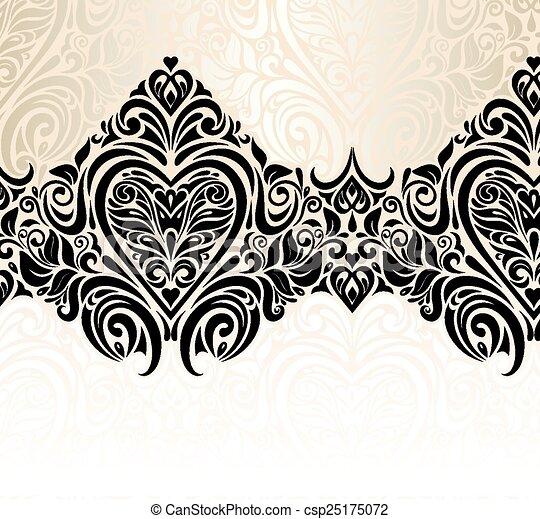 floreale, vendemmia, fondo, matrimonio - csp25175072