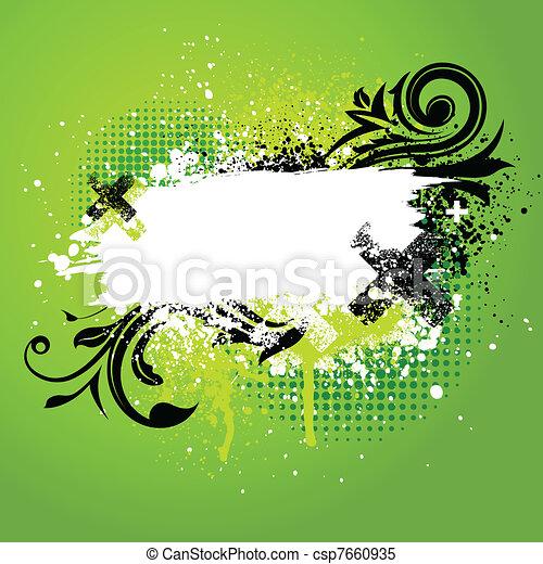 floreale, vernice, verde, splatter - csp7660935