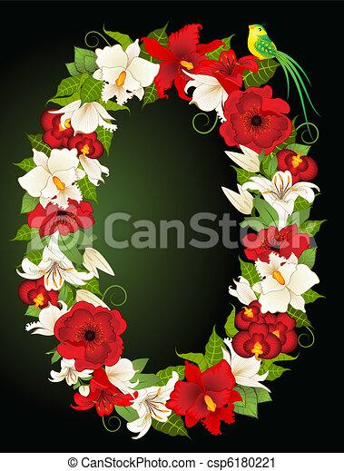 floreale, zero, simbolo, illustrazione - csp6180221