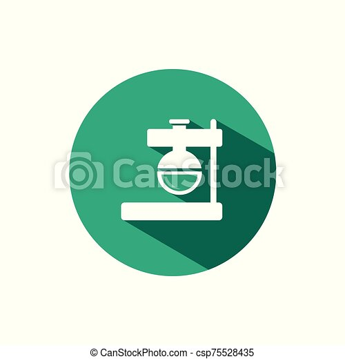 Florence flask icon with shadow on a green circle. Vector pharmacy illustration - csp75528435