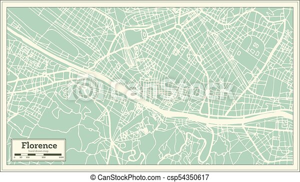 Florence italy city map in retro style. outline map. vector ... on