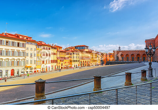 FLORENCE, ITALY- MAY 14, 2017:  Pitti Square (Piazza pitti)  in Florence - city of the Renaissance on Arno river. Italy. - csp50004497