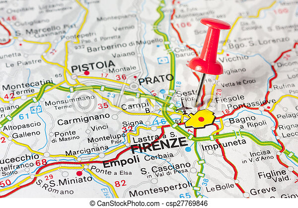 Florence on a map. Close up of florence italy on a map with red pin.