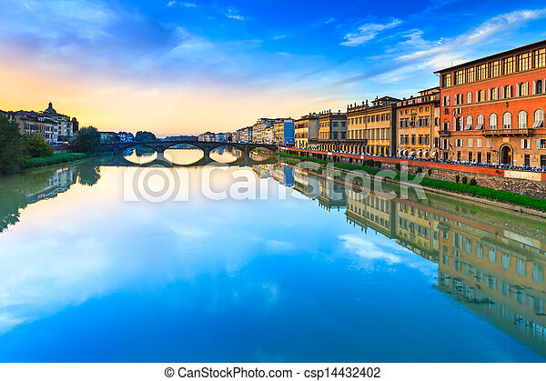 Florence, Ponte alla Carraia medieval Bridge landmark on Arno river, sunset landscape with reflection. It is the second oldest bridge, built in 1218, in the city. Tuscany, Italy. - csp14432402