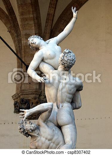 Florence - Rape of the Sabine women. Jean de Boulogne (Gianbologna) Rape of the Sabine women Carved from a single block of marble in 1583  - csp8307402
