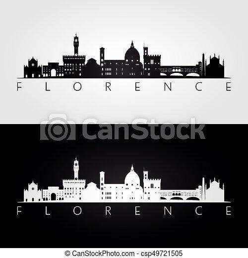 Florence skyline and landmarks silhouette - csp49721505
