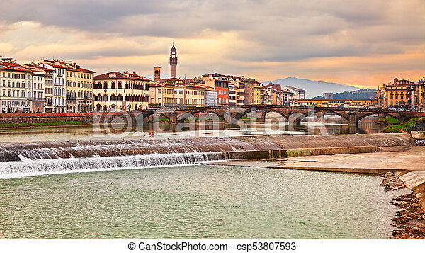 florence tuscany italy landscape of the city and the arno river