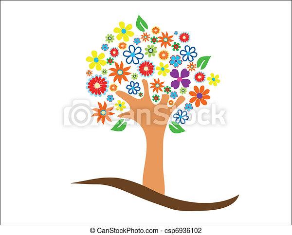 flores, árvore, coloridos - csp6936102