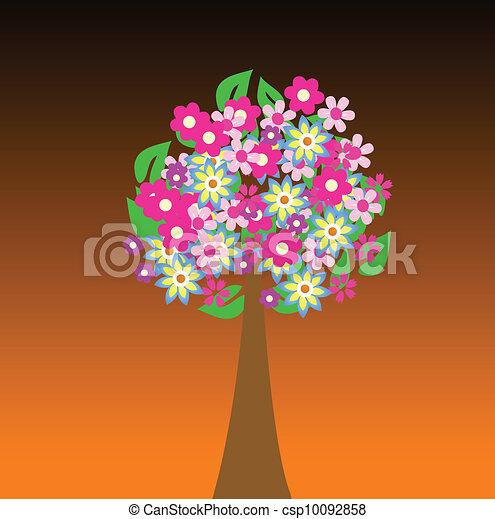 flores, árvore, coloridos - csp10092858