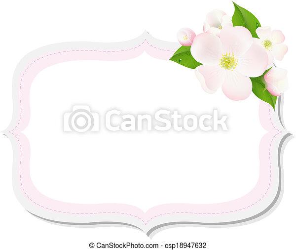 flores, árvore, maçã, etiqueta - csp18947632