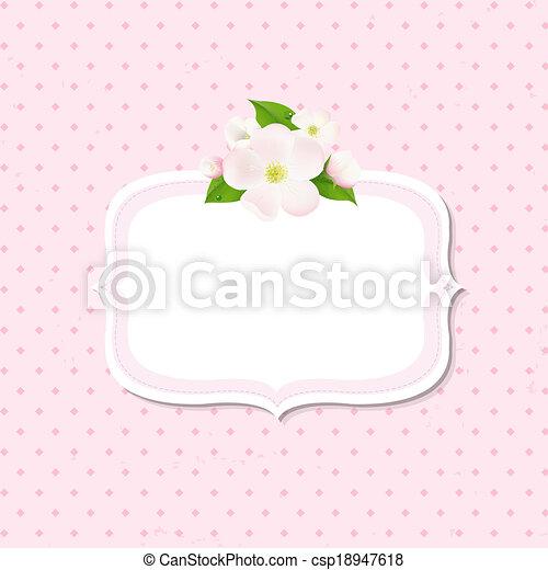 flores, árvore, maçã, fundo, etiqueta - csp18947618