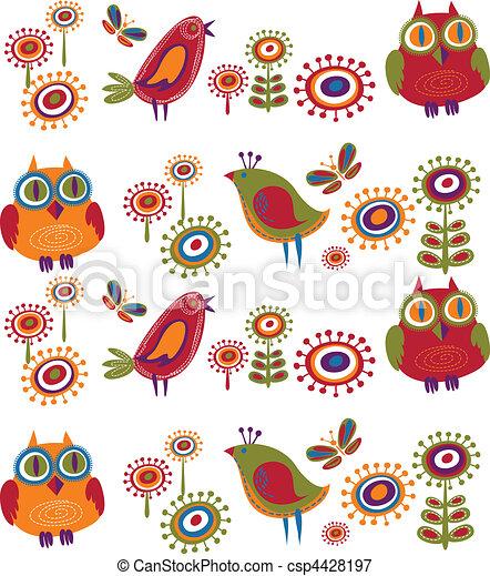 Flores y pájaros - 2 - csp4428197