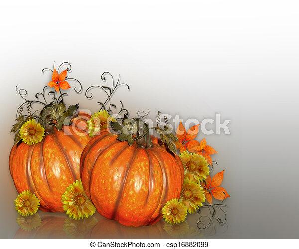 flores, abóboras, outono - csp16882099
