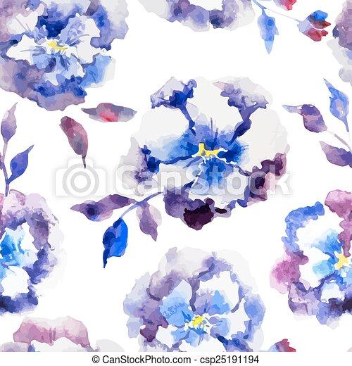 Flores Azules Hermoso Azul Patron Acuarela Vector Flores