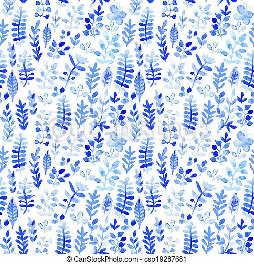 Flores Azules Invierno Ornament Pattern Seamless Textura