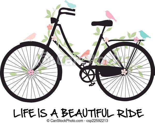 flores bicicleta aves vida hermosa paseo bicicleta vendimia ilustraci n flores vector. Black Bedroom Furniture Sets. Home Design Ideas