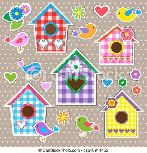 Pájaros, pájaros y flores - csp10911452