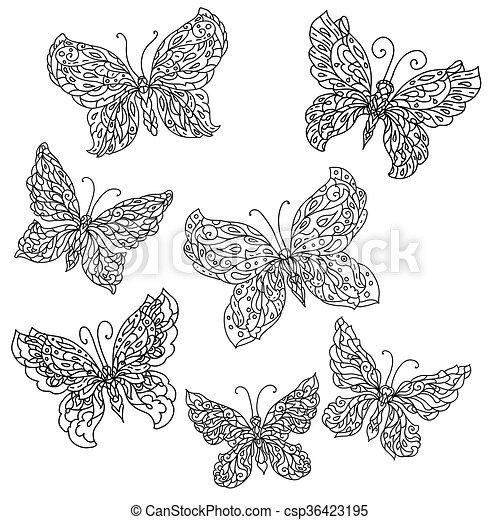 flores, borboletas - csp36423195