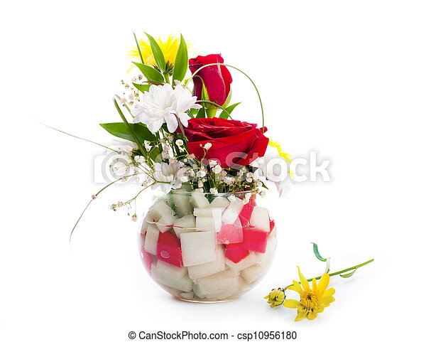 flores côr-de-rosa, buquet, rosas - csp10956180